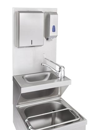 AM-Edelstahl Hygienewand 1 in Hygienisch einwandfrei - mit der Aufsteckrückwand von AM Edelstahl