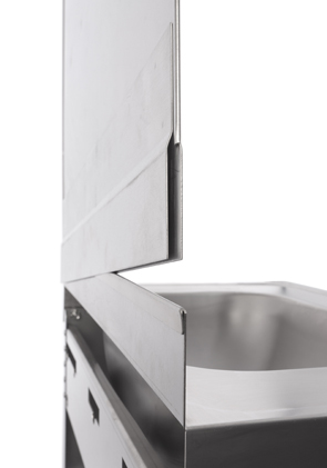 AM-Edelstahl Hygienewand 2 in Hygienisch einwandfrei - mit der Aufsteckrückwand von AM Edelstahl