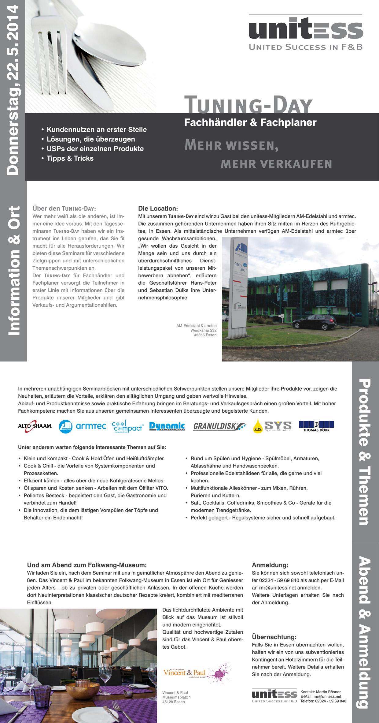 Unitess Seminar 22052014 in Tuning-Day für Fachhändler und Fachplaner in Essen