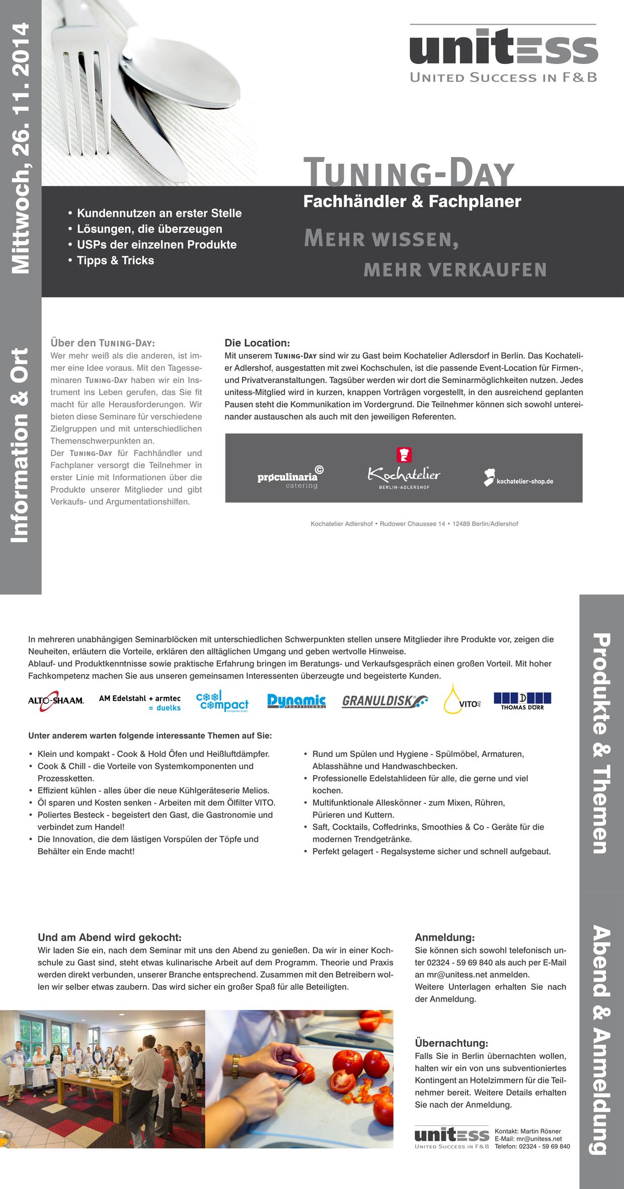 Unitess Seminar 261120141 in 26. November 2014 - Tuning-Day für Fachhändler & Fachplaner in Berlin