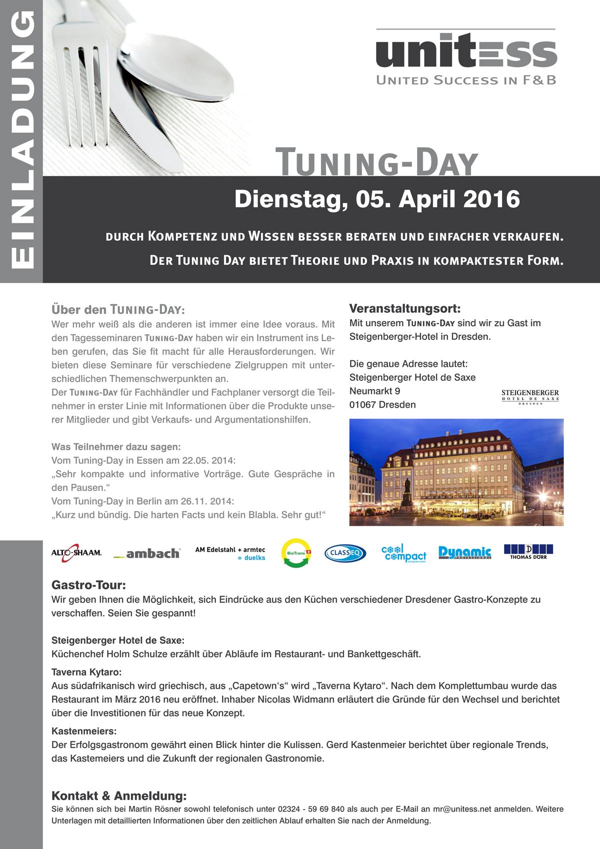 Unitess Einladung Tuning-Day 2016 Dresden Print in
