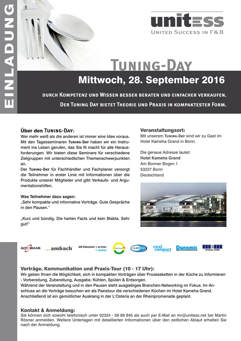 Unitess Einladung Tuning-Day 2016 Bonn Print in